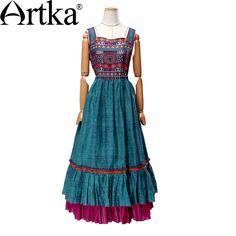 Artka женская весна новый Ethinic печатных пят квадратный воротник рукавов империи талии широкий подол платья LA14357C