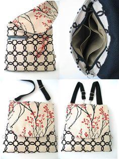 fabric backpack floral purse womens messenger bag by daphnenen