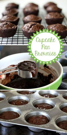 Best Baking Hacks - Cook Brownies In A Cupcake Pan - DIY Cooking Tips and Tricks for Baking Recipes - Quick Ways to Bake Cake, Cupcakes, Desserts and Cookies - Kitchen Lifehacks for Bakers Mini Desserts, Just Desserts, Delicious Desserts, Yummy Food, Plated Desserts, Bake Sale Treats, Bake Sale Recipes, Baking Recipes, Baking Hacks