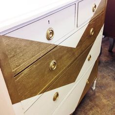 gold and white chevron painted dresser