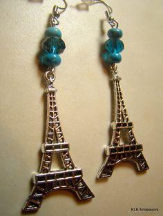 Blue Eiffel Tower Earrings by KLKEndeavors on Etsy Gold Jewellery Design, Gold Jewelry, Handmade Items, Tower, Drop Earrings, Silver, Gifts, Blue, Etsy