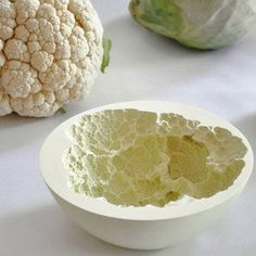 Viennese designers Mischer'Traxler created these art bowls out of ceramic powder and real live vegetables, the bowls taking their form from cauliflower, fennel, peppers, and cabbage. Beautiful!