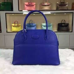 Brand: Hermes; Style: Bolide Bag; Material: epsom calfskin leather;Color:7T Blue Electric; Size:27*20*10CM; Hardware: silver; Accessories: dust bag.Function:tote bag.