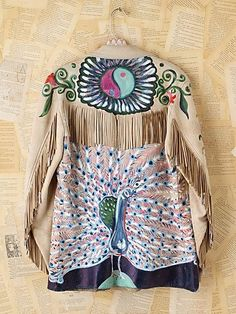 Free People Vintage Fanny Bostrom Hand-Painted Leather Jacket on Wanelo