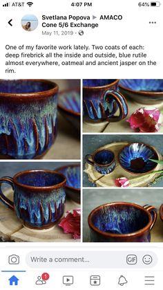 Slab Pottery, Glazes For Pottery, Pottery Mugs, Ceramic Pottery, Ceramic Art, Pottery Techniques, Glazing Techniques, Diy Tableware, Ceramic Glaze Recipes