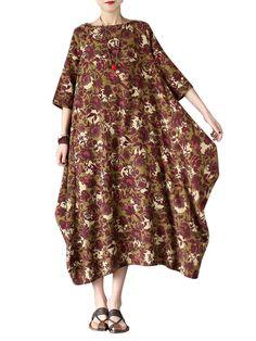 Sale 20% (21.91$) - O-Newe L-5XL Casual Women Floral Printed Half Sleeve Irregular Maxi Dress