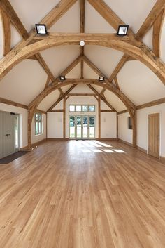 Border Oak - Oving Village Hall - the oak cruck frame makes this an amazing space for weddings and parties! Oak Frame House, A Frame Cabin, Oak Framed Buildings, Timber Frame Homes, Timber Frames, Barn Renovation, Roof Trusses, Pole Barn Homes, Duplex