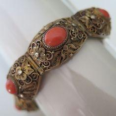 Vintage Chinese Export Sterling Silver Vermeil Filigree Pink Coral Bracelet
