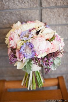 peonies, roses, and scabiosa