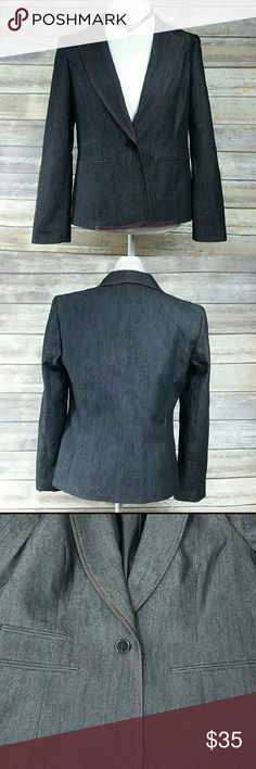 "*LIKE NEW* Women's Nine West Blazer Almost New. Doesn't look like it's ever been worn  Armpit to armpit is 19"" Shoulder to bottom is 24"" Has a denim look Discoloration is from my camera. There is no discoloration on blazer. Nine West Jackets & Coats Blazers"