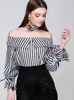 Sexy Slash Neck Open Shoulder Striped Tops With Chocker Flare Sleeve 2017 women OL Blouse Shirt camisa preta Korea Outfits Con Camisa, Moda Zara, Moda Outfits, Blouses For Women, Women's Blouses, Blouse Designs, Fashion Online, Fashion 2017, Fashion Brands