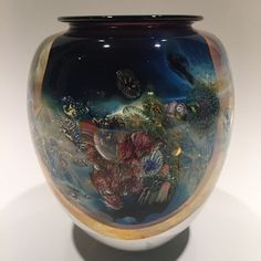 Large Signed Josh Simpson Inhabited Planet Art Glass Paperweight Vase