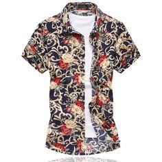 61c745c121f M-6XL Mens Flower Shirt 2017 Summer Short Sleeve Shirt High Quality  Mercerized Cotton Shirts