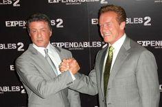 Sylvester Stallone et Arnold Schwarzenegger à l'avant-première de Expendables 2 à Paris