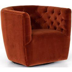 Hanover Swivel Chair, Sapphire Rust – High Fashion Home Round Swivel Chair, Modern Swivel Chair, Swivel Recliner, Modern Chairs, Recliner Chairs, Chair Cushions, Sectional Sofa, The Maxx, Glider Chair