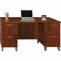 Bush Somerset 60in. Double-Pedestal Desk, Hansen Cherry