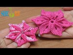 ▶ Crochet 3D Flower Tutorial 46 Crochet Around Post - YouTube