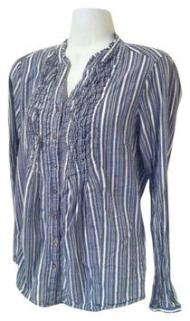 Gloria Vanderbilt Denim Blue Navy And White Stripe Easy Wear All Cotton 8 10 Top $12.50 with FREE SHIPPING