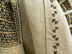 Romanian blouse - ie - detail. Folk Costume, Costumes, Textiles, Embroidery, Boho, Detail, Crochet, Folk Art, Folklore