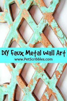 DIY Faux Metal Wall Art DIY Faux Metal Wall Art -- turn unfinished wood decorative elements into gorgeous art! Metal Tree Wall Art, Metal Artwork, Tree Artwork, Art Diy, Diy Wall Art, Do It Yourself Decoration, Wood Wall Decor, Unique Home Decor, Metal Walls
