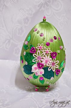 Handmade-kursy ,wzory ,tutoriale: Wielkanocne ozdoby-jajko ze wstążki