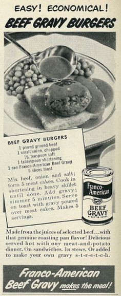 Vintage 1950s magazine advertisement, Franco-American Beef Gravy, with recipe for Beef Gravy Burgers, 1950  Published in Life magazine, May 15, 1950 - Vol. 28, No. 20  Fair use/no known copyright. If you use this photo, please provide attribution credit; not for commercial use (see Creative Commons license).