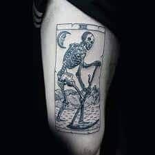 80 Woodcut Tattoo Designs For Men - Engraved Ink Ideas Skull Thigh Tattoos, Dragon Thigh Tattoo, Thigh Tattoo Men, Thigh Tattoo Quotes, Flower Thigh Tattoos, Leg Tattoos, Body Art Tattoos, Tattoos For Guys, Sleeve Tattoos