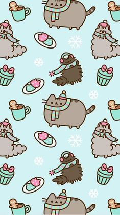 FREE Exclusive Pusheen Android and iPhone® Christmas Wallpapers - - Wallpaper - Cat Wallpaper Wallpaper Winter, Xmas Wallpaper, Christmas Phone Wallpaper, Trendy Wallpaper, Kawaii Wallpaper, Screen Wallpaper, Pattern Wallpaper, Cute Wallpapers, Wallpaper Backgrounds