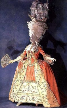 18th century dress from the collection of the Kyoto Costume Institute, with wig in exaggerated style referencing Vreeland's mode of display from the Eighteenth Century Woman exhibit at the Costume Institute