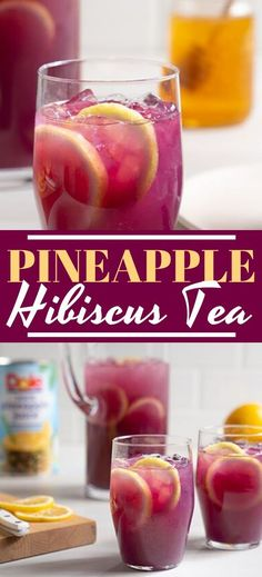 Pineapple Hibiscus Tea - Recipes Feel summery with each taste of our Pineapple Hibiscus Tea. With one-step directions, this party-friendly drink brings together Dole Pineapple Juice, lemon, hibiscus tea, and honey for a sweet yet tart flavor. Tea Cocktails, Party Drinks, Fun Drinks, Yummy Drinks, Healthy Drinks, Ice Tea Drinks, Beverages, Fun Summer Drinks Alcohol, Healthy Recipes