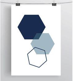 Navy Hexagon Print Hexagon Print Navy Honeycomb Print Honeycomb Poster Geometric Print Scandinavian Print Navy Home Decor Minimalist Print Logo Design, Graphic Design, Simple Poster Design, Hive Logo, Cv Inspiration, Navy Home Decor, Hexagon Logo, Bee Art, Print Layout