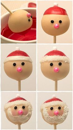 The most adorable Christmas cake pops EVER! How to Make Santa Cake Pops Step-By-Step tutorial. Using gluten free cake pops Christmas Cake Pops, Christmas Sweets, Santa Christmas, Christmas Goodies, Christmas Baking, Christmas Time, Xmas, Halloween Christmas, Father Christmas