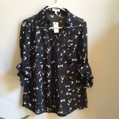 NWT Express Portofino Sheer Bird Black Top New with tags. Size medium. Retail $54.95. Express Tops Button Down Shirts