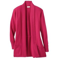Samantha Brown Ultrasoft Cardigan (3.185 RUB) ❤ liked on Polyvore featuring tops, cardigans, english rose, pink plus size tops, pink cardigan, pink top, travelsmith and formal cardigan
