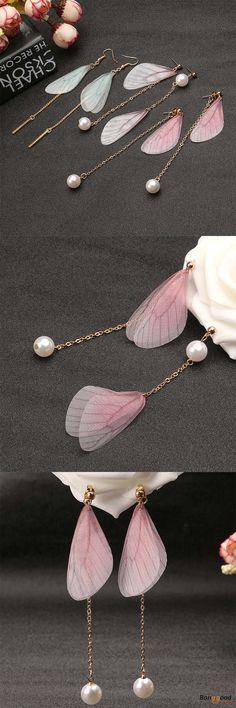 US$3.99+Free shipping. Women Earrings, Artificial Pearl, Sweet Chiffon Wings, Ear Drop. Main Color: Pink, Green, Gray.