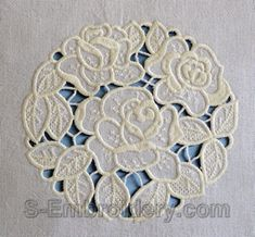 10539 Roses cutwork lace embroidery set - This machine embroidery set includes 2 flavors of a nice roses cutwork lace embroidery - a color and a mono color version. Cutwork Embroidery, White Embroidery, Machine Embroidery Designs, Embroidery Patterns, Fibre And Fabric, Embroidery Techniques, Craft Patterns, Needlework, Couture
