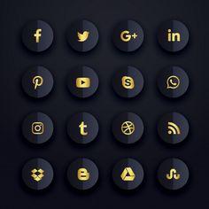 Dark premium social media icons set Free Vector in 2019