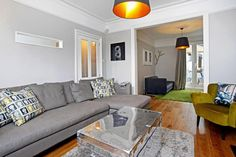 sofa placement in knocked thru room Victorian Terrace Interior, Victorian House, Décor Ideas, Room Ideas, Living Room Designs, Living Room Decor, Picture Rail, Terraced House, Sitting Rooms