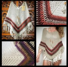 Crochet poncho/ boho hippie bohemian/ earthy tones/ by LittleDoLah