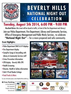 See you at the National Night Out in Beverly Hills CA on Tues. from 6 - 9 pm with our injury prevention partner United Taxi.