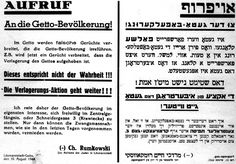 Lodz, Poland, A notice with a request to ghetto residents to report voluntarily for deportation. The decree announces that rumors about the end of the ghetto evacuation are false, and that Aktions will continue. Therefor, the head of the Judenrat requests that people arrive voluntarily at the main jailhouse. Sadly, the lies were just an easy way for Nazis to get the Jews to the trains and off to death camp.