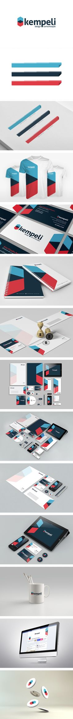 Kempeli | Rebranding by Kempeli Design e Comunicação , via Behance/ graphical chart/ business card/ logo/ paper ...