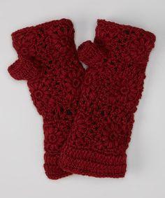 Maroon Crocheted Fingerless Gloves by Sassy Hip