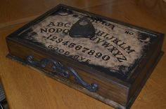 This year for my annual party, I am having a witch/witchcraft theme in the living room. Here is the first prop. I tried to give it a dirty aged look to match the ouija board. Thanks to DaveintheGrave and his how to for the inspiration! Halloween Home Decor, Halloween House, Holidays Halloween, Halloween Crafts, Halloween Party, Halloween Decorations, Halloween Ideas, Ouija, Halloween Forum