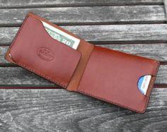Cartera para hombre, cuero minimalista de los hombres, simple billetera, monedero hecho a mano, cartera de piel, negro cuero marrón castaño, garny 2