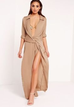 Peace + Love Wrap Front Shirt Maxi Dress Nude Formatura, Vestido Camisa  Longo, Maxi 2677f26f92
