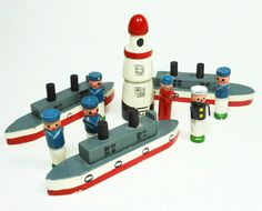 Vintage Navy Boats Ships Wooden Toys Sailors by PeachyChicBoutique