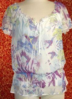 AB STUDIO white sheer cap sleeve 2 Piece bohemian blouse S M (T2504E5F) #ABSTUDIO #Blouse #Casual