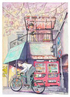 수채화, 풍경, 자전거, 소녀, 소년