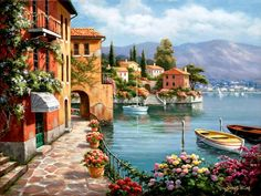 Cheap diy painting, Buy Quality painting diy directly from China harbor paintings Suppliers: CHENISTORY Romantic Harbor DIY Painting By Numbers Landscape Canvas Painting Home Decor For Living Room Wall Art Picture Canvas Painting Landscape, Oil Painting On Canvas, Diy Painting, Painting Clouds, Painting Flowers, Canvas Paintings, Belle Image Nature, Images D'art, Paint By Number Kits